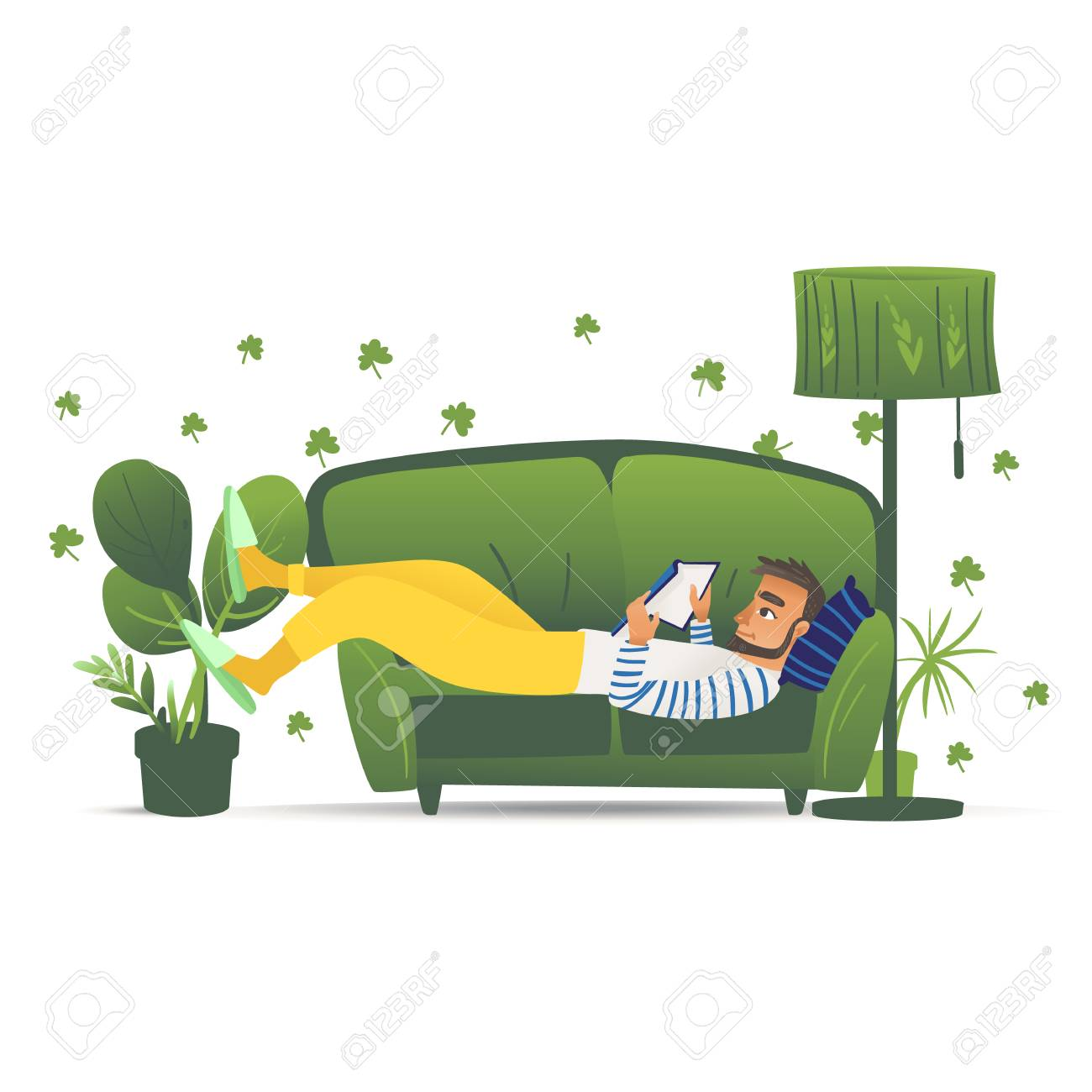 Man lying on green sofa, young male adult relaxing and reading a book at home on a comfortable sofa, leisure lifestyle vector illustration hand drawn and isolated on white background - 128170451