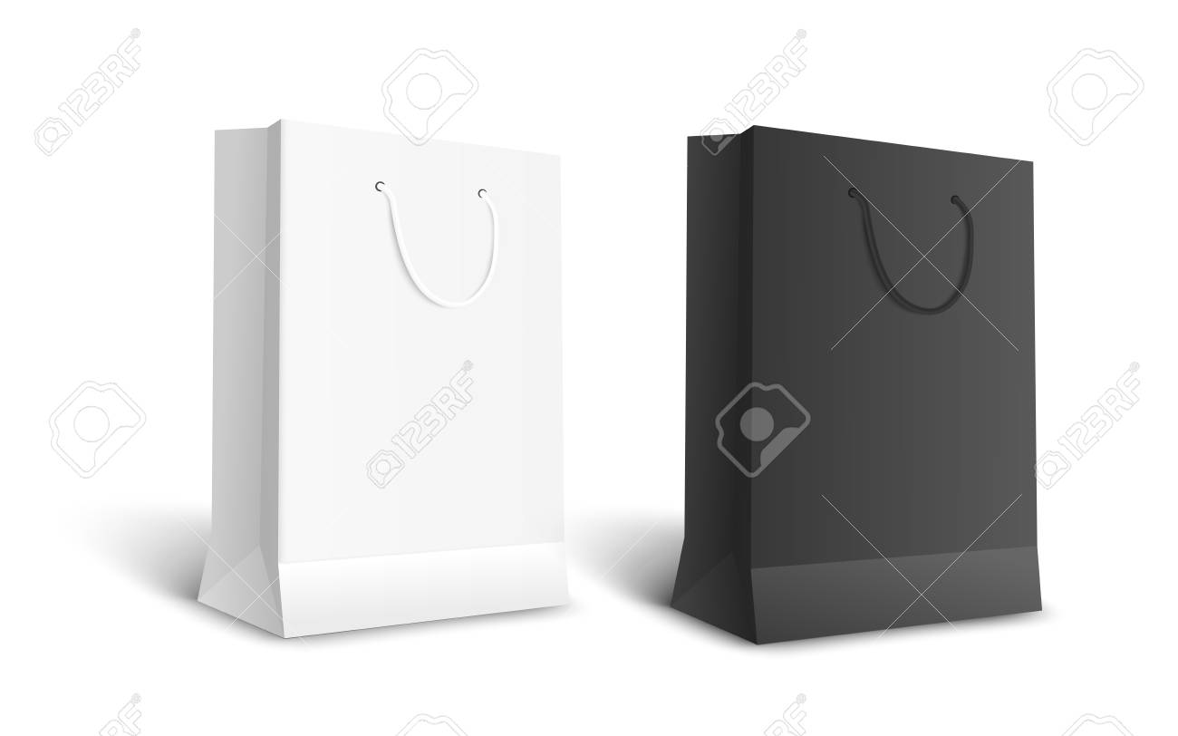Black and white isolated paper bags for retail shopping, empty realistic mockup of store merchandise or gift package, contrast color realistic vector illustration on white background - 128170643