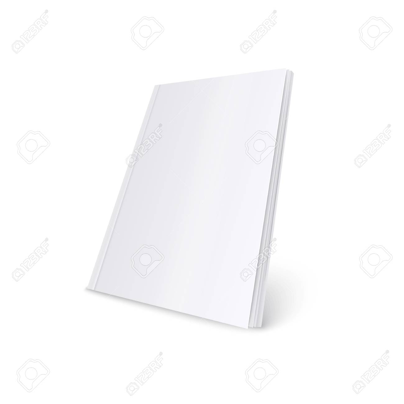 Mockup of standing blank white soft cover magazine realistic style, vector illustration isolated on white background. 3d template of paperback book or brochure or catalog in three quarters view - 128170713