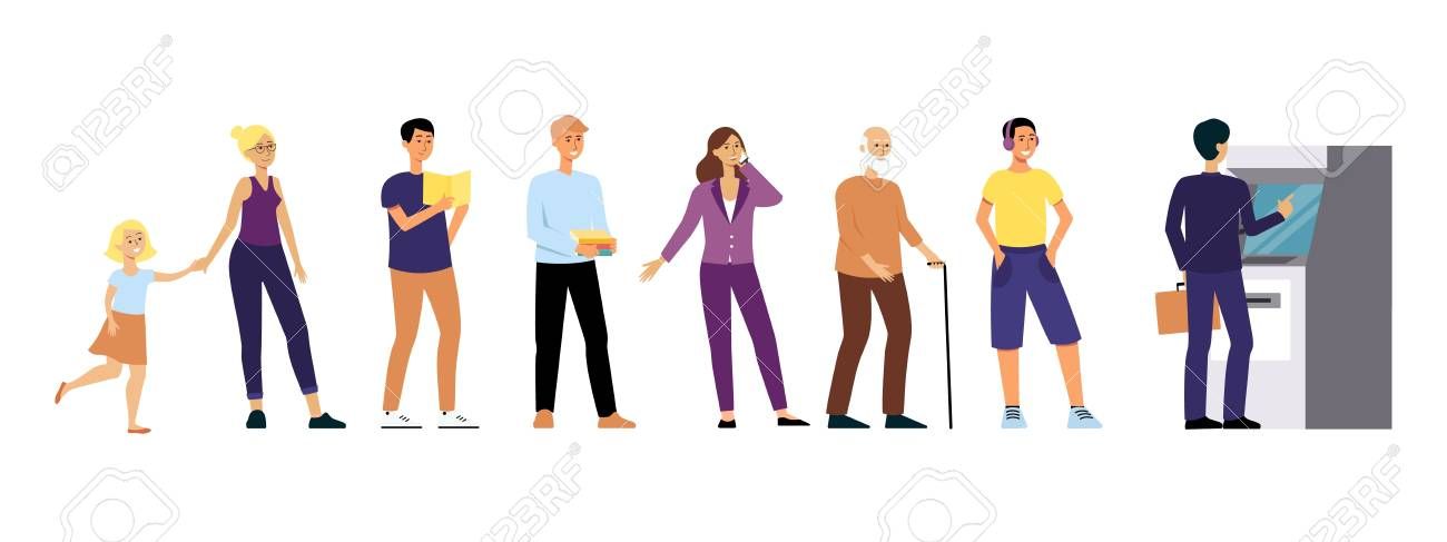 Different people stand in queue to Automated Teller Machine flat cartoon style, vector illustration isolated on white background. Young and old men and women waiting in line to withdraw cash from ATM - 128170780