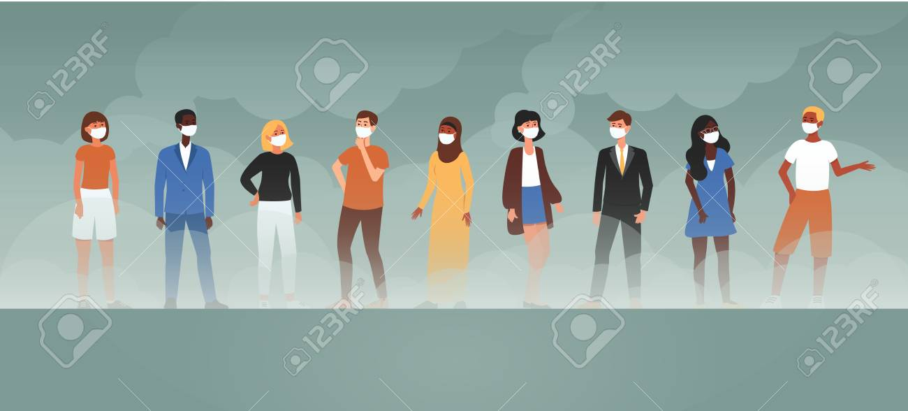 Cartoon people in face masks standing in factory smoke background, air pollution and ecology problem discussion, isolated flat vector illustration banner - 128170789