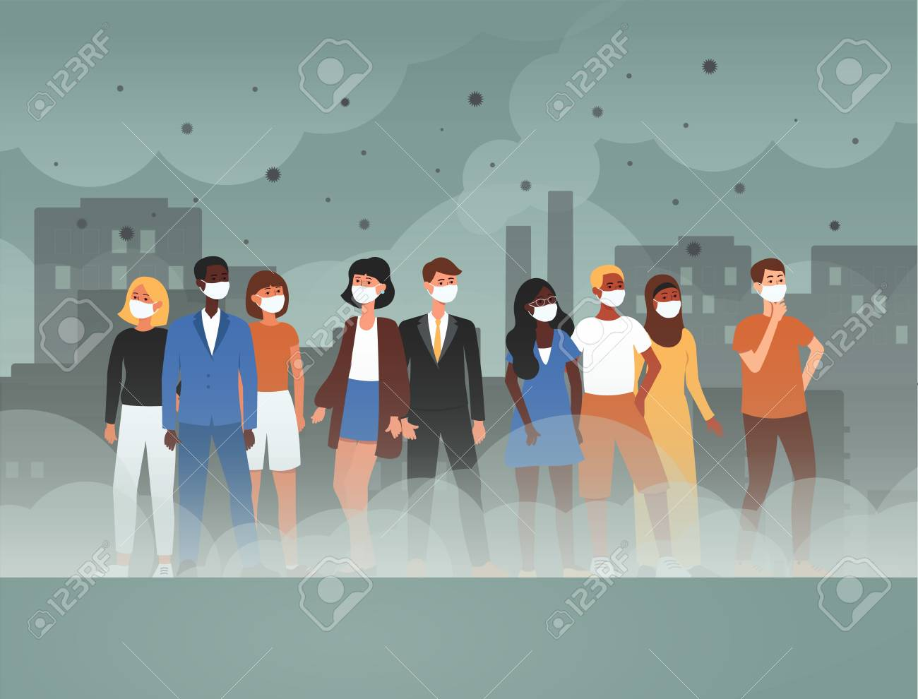 Environment toxic gas pollution and industry smog danger concept flat cartoon vector illustration. People in protective face masks from contaminated dirty city air. - 128170792