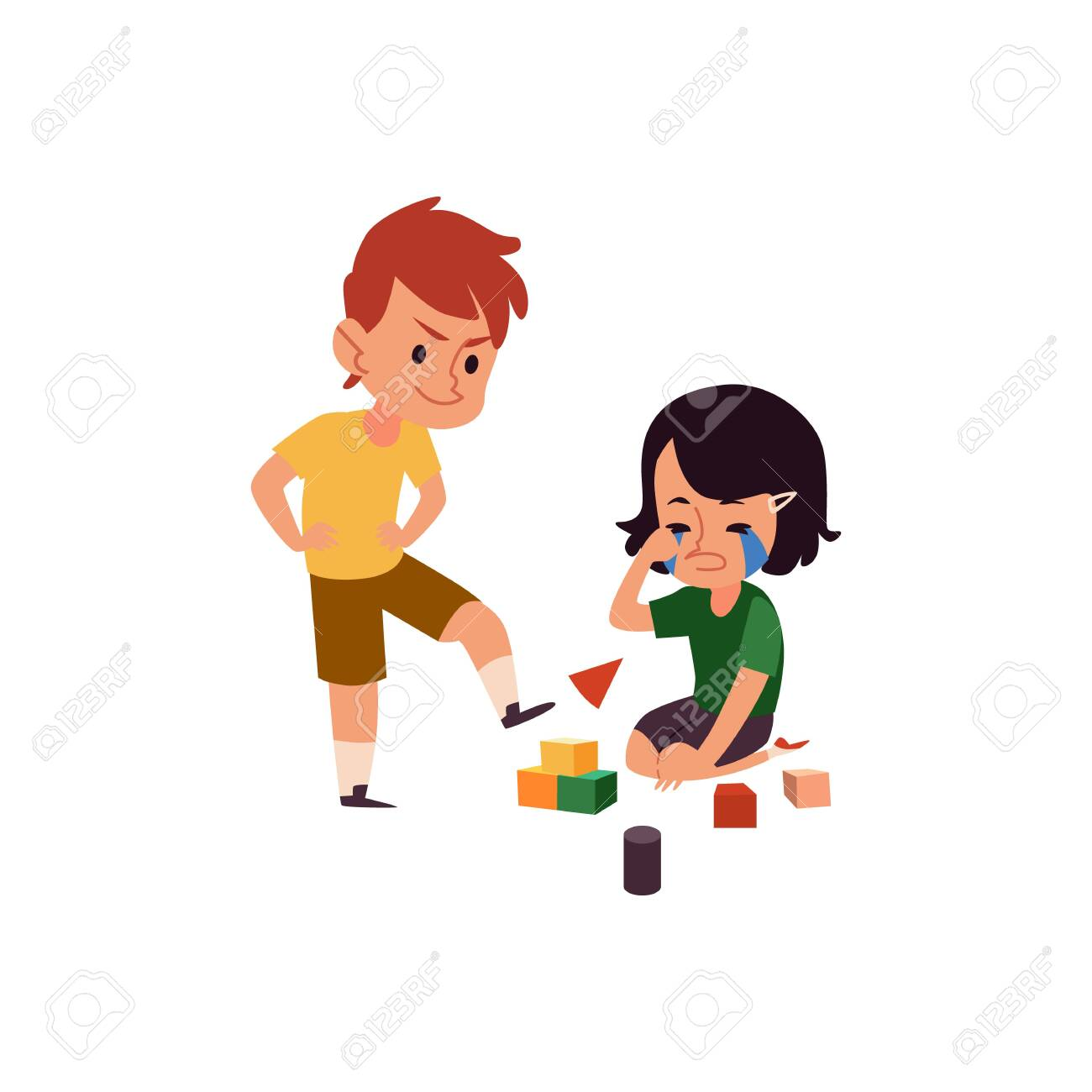 Boy with bad behavior bullying crying girl, cartoon kid kicking his sister's toy cubes, children in conflict playing with blocks - 125387600