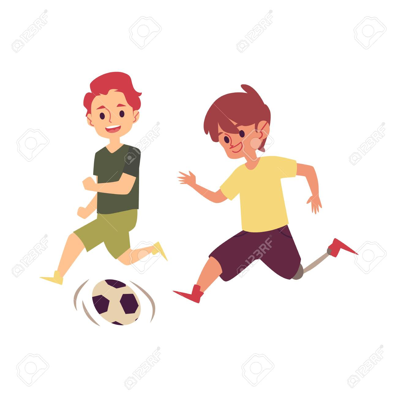 Disabled child playing soccer game with friend, happy cartoon boy with prosthetic leg kicking a football to score goal. Kid with disability running with a ball - isolated flat vector illustration - 128170955