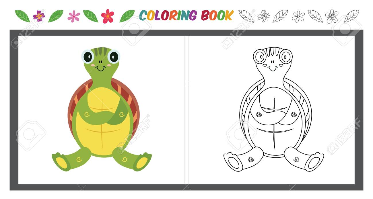 Children S Color Page With Cute Turtle Outline Image And Color Royalty Free Cliparts Vectors And Stock Illustration Image 125390217