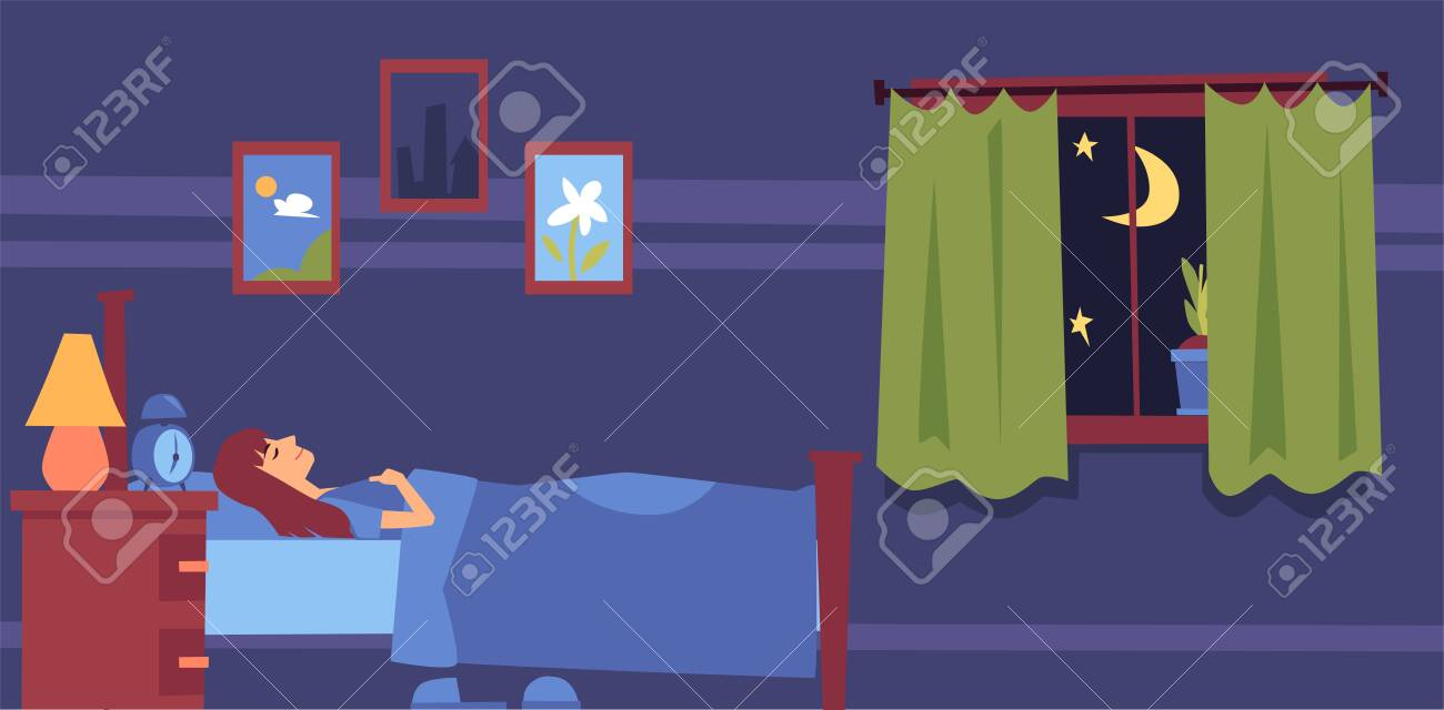 Young woman sleeping in bed on a pillow under the blanket in the bedroom at night. Night sleep and rest of a girl or woman in the bedroom, flat cartoon vector illustration. - 126296839