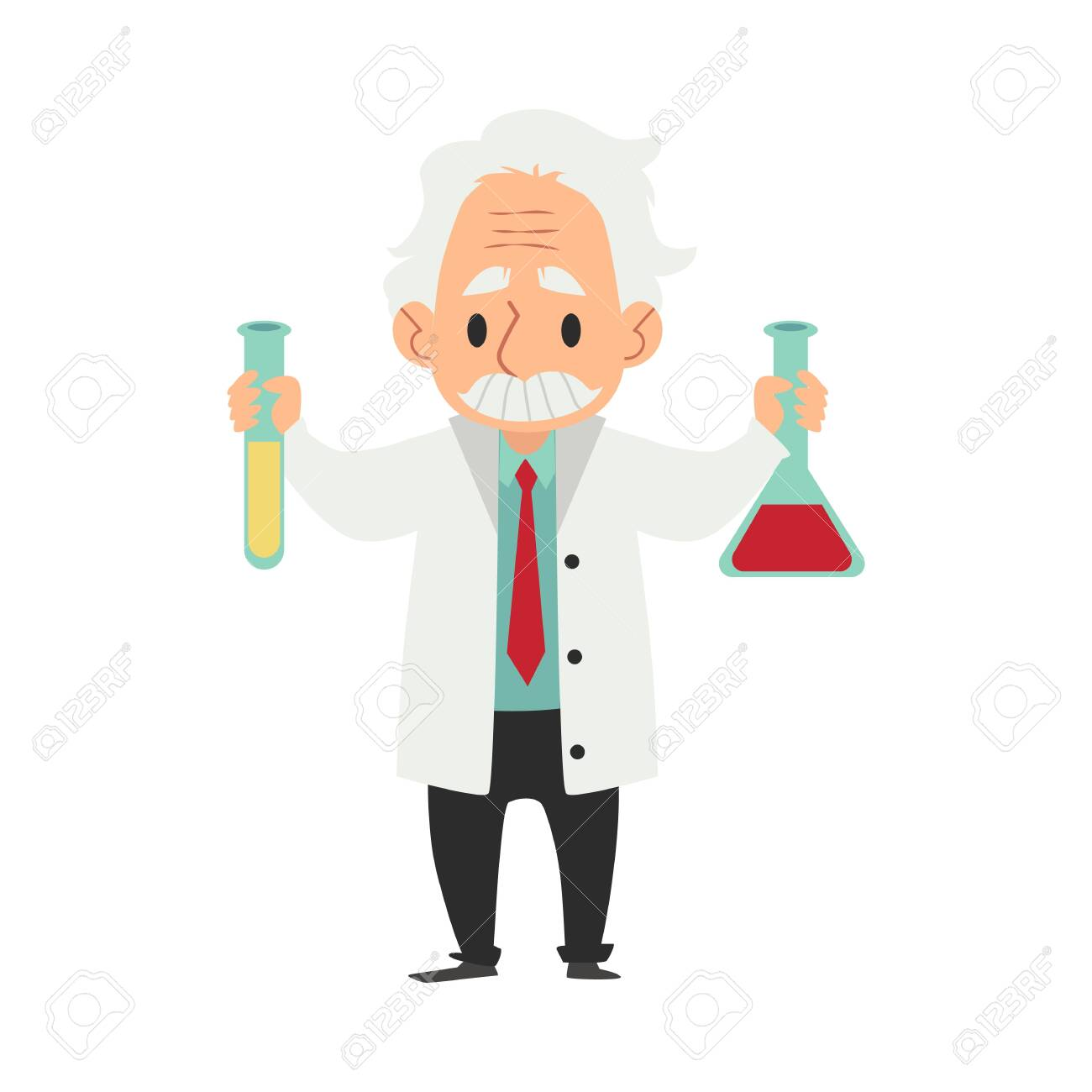 Old scientist in laboratory coat with flask and tube cartoon character flat vector illustration on color background. Professor or chemist experimenting or making discovery. - 128171292