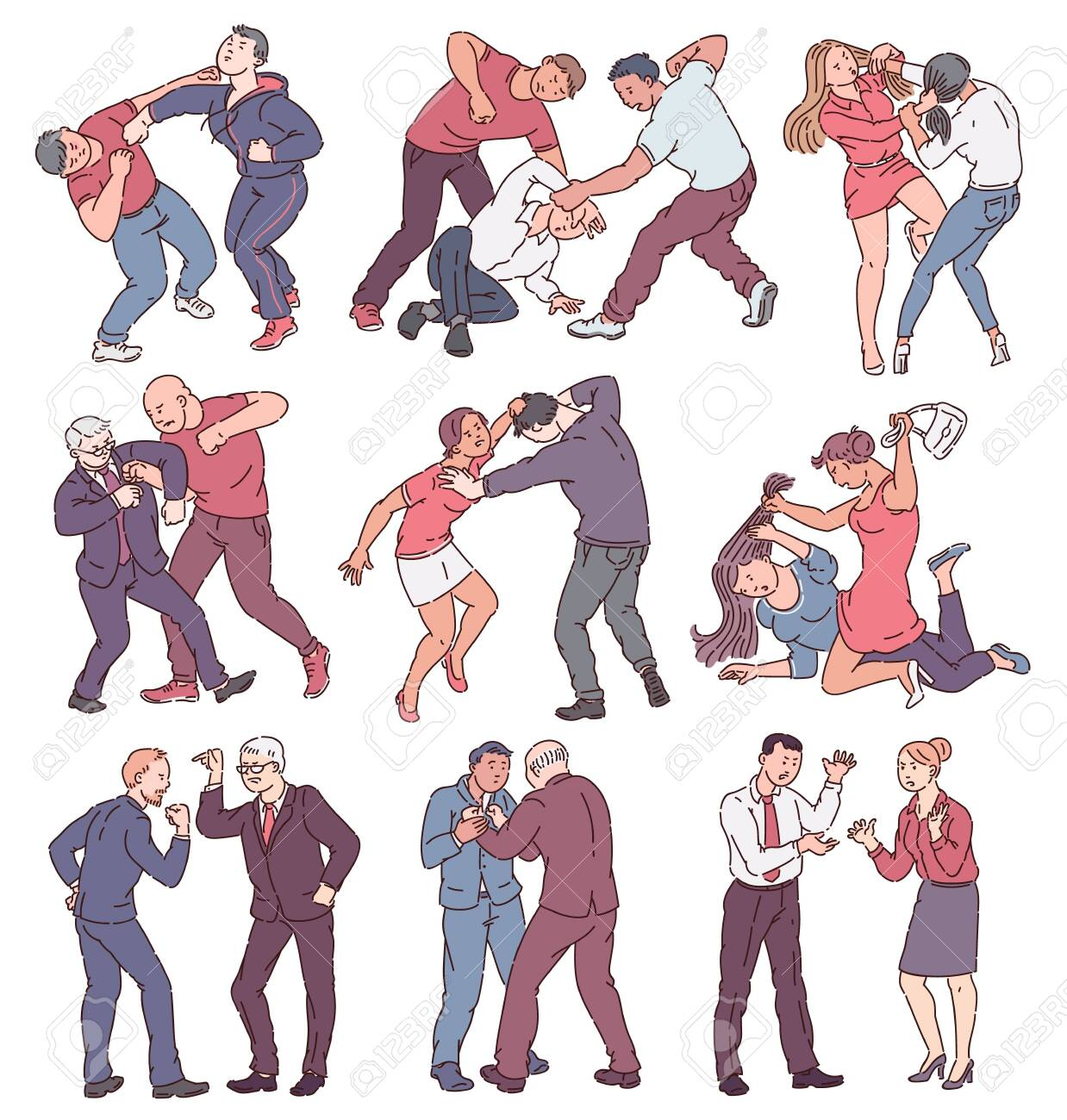 Collection of people during fight action, set of angry men and women in physical conflict, punching, hitting, threatening each other. Violence themed isolated vector illustration on white background. - 128171525