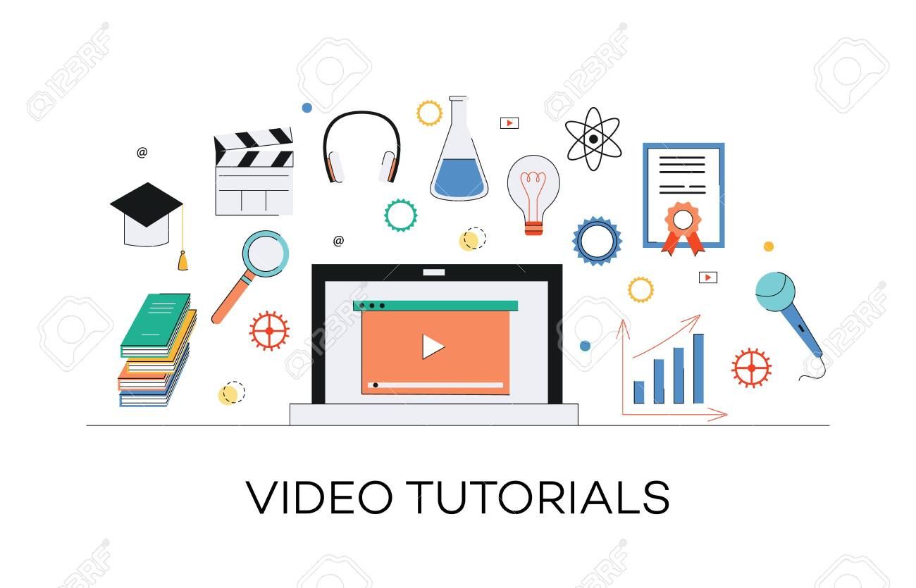 Video and internet marketing tutorials concept. Media learning, web education through internet video marketing and tutorials. Laptop with play icon and other media elements, vector flat illustration. - 126764349