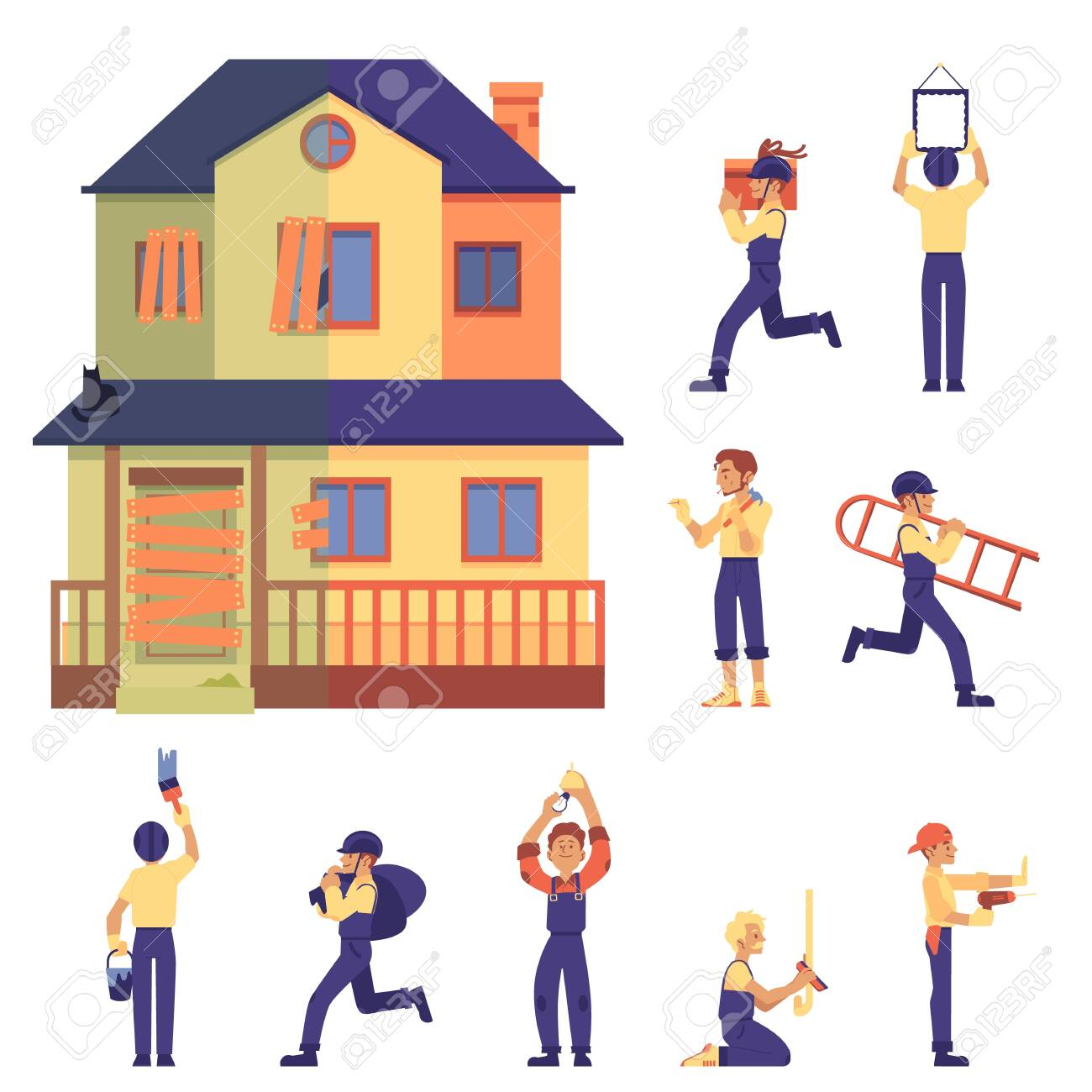 Set of home renovation with house before and after, workers and labor in flat cartoon style, isolated vector illustration on white background. Old two-storey flat home renovated into cute cottage. - 128171776