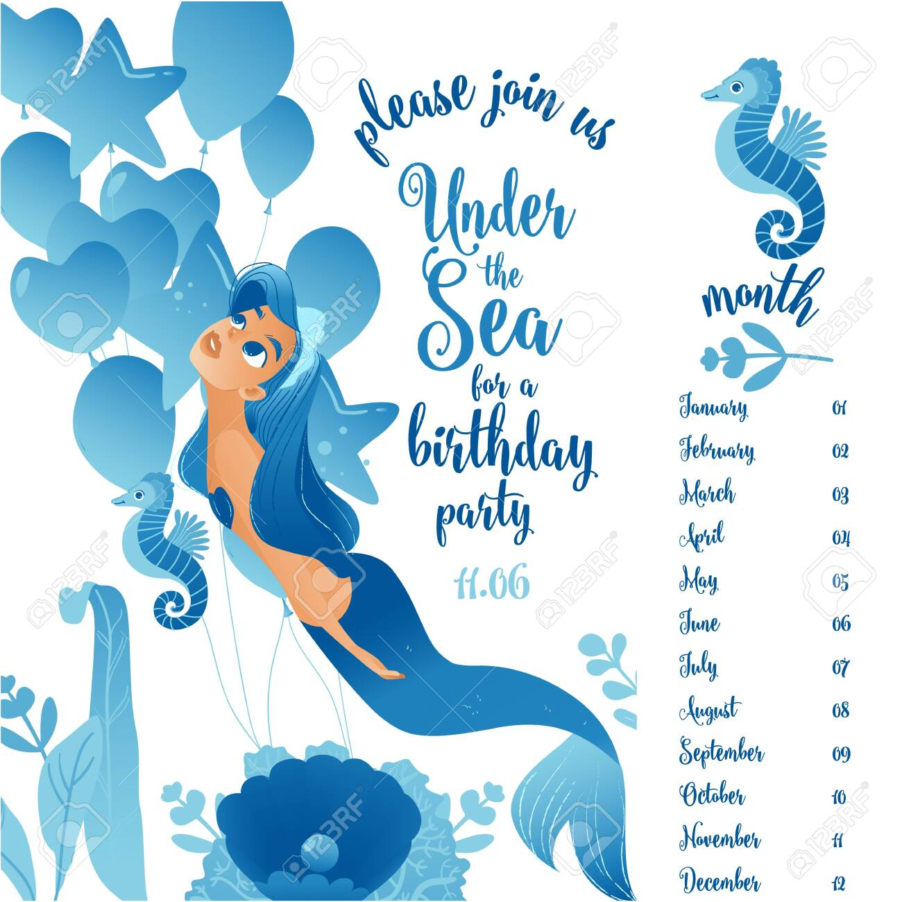 Birthday Party Invitation Card Template With Cute Little Mermaid