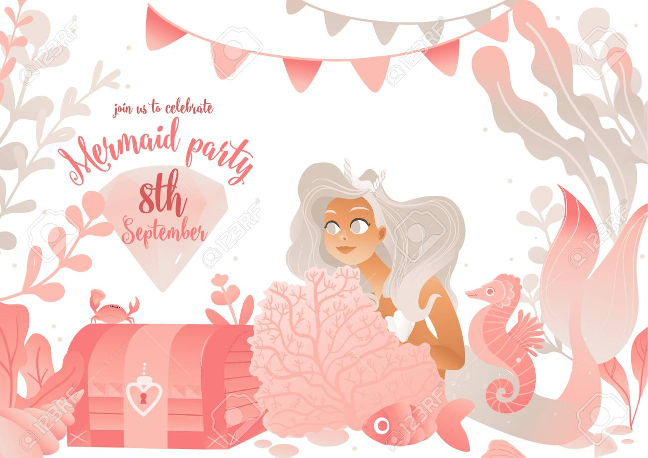 Mermaid Party Invitation Card Template In Pink Colors With Cute