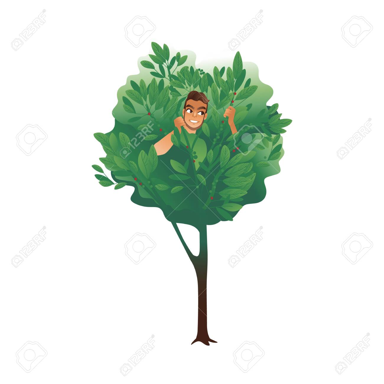 Cartoon Man Hiding In A Tree Summer Nature Drawing Of Male Character Royalty Free Cliparts Vectors And Stock Illustration Image 128947668 Max 3ds fbx oth obj. cartoon man hiding in a tree summer nature drawing of male character
