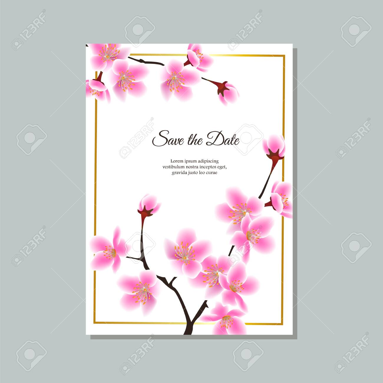 Save The Date Card Wedding Invitation Or Thank You Note With