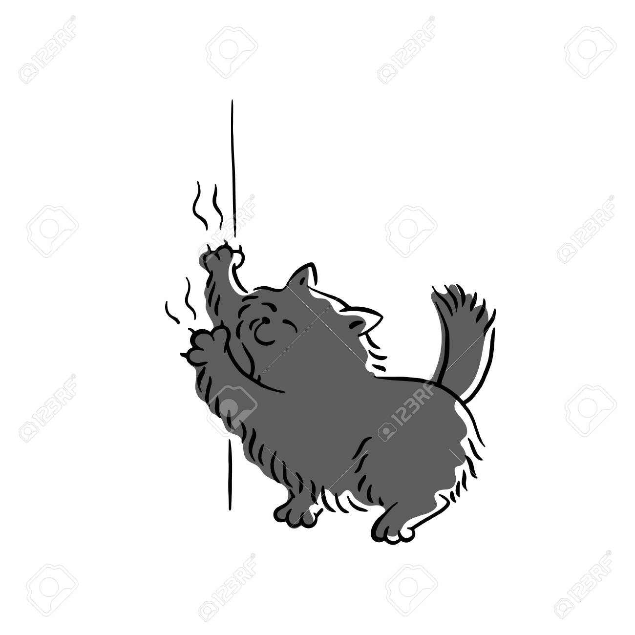 bad cute black cat scratching wallpaper sketch cartoon character