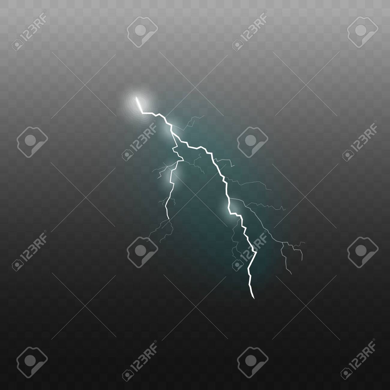 Lightning sparkling flash effect or glowing thunderbolt 3d realistic vector illustration isolated on transparent background. Electricity charge and power symbol. - 128948081