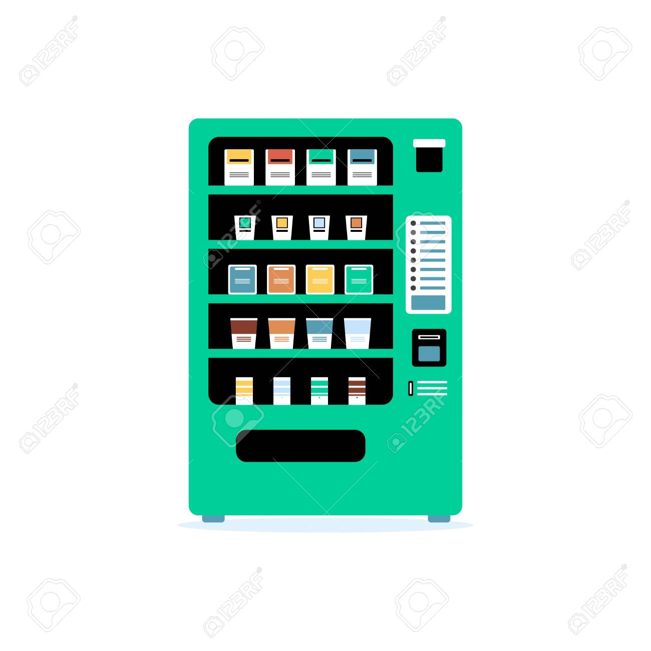 Teal Green Vending Machine Flat Isolated Vector Illustration Royalty Free Cliparts Vectors And Stock Illustration Image 128948115