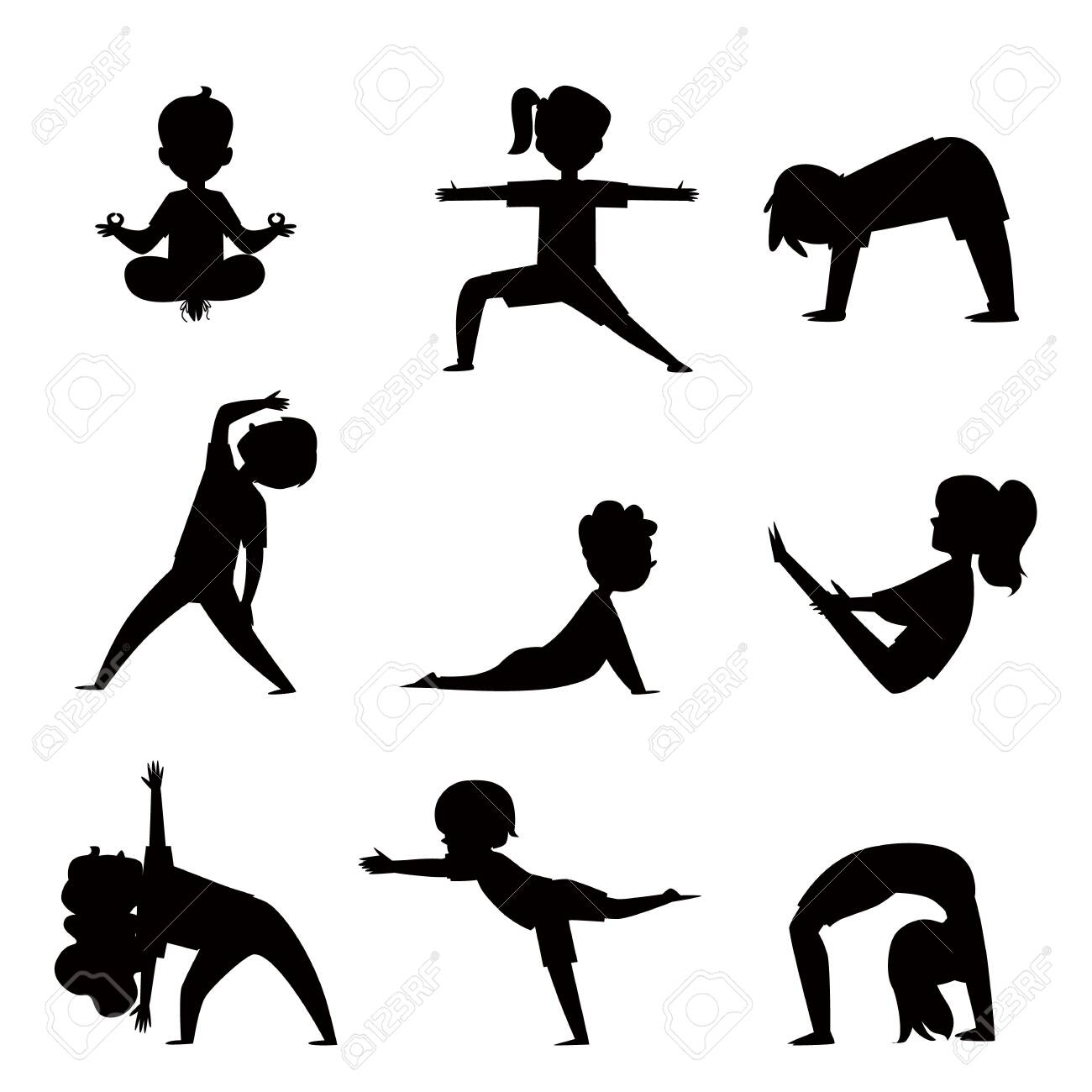 Cartoon Kids Silhouette Set In Various Yoga Poses Child Exercise Royalty Free Cliparts Vectors And Stock Illustration Image 129267604