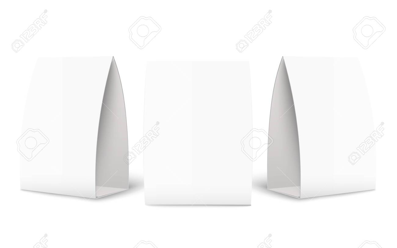 Paper Tent Card Brochure Mockup Set In Three Different Angles With Regard To Card Stand Template