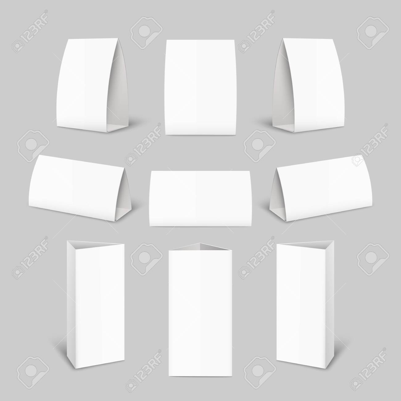 Tent card paper brochure mockup set - realistic blank advertising template collection from front and side view isolated on grey background, vector illustration - 129267154