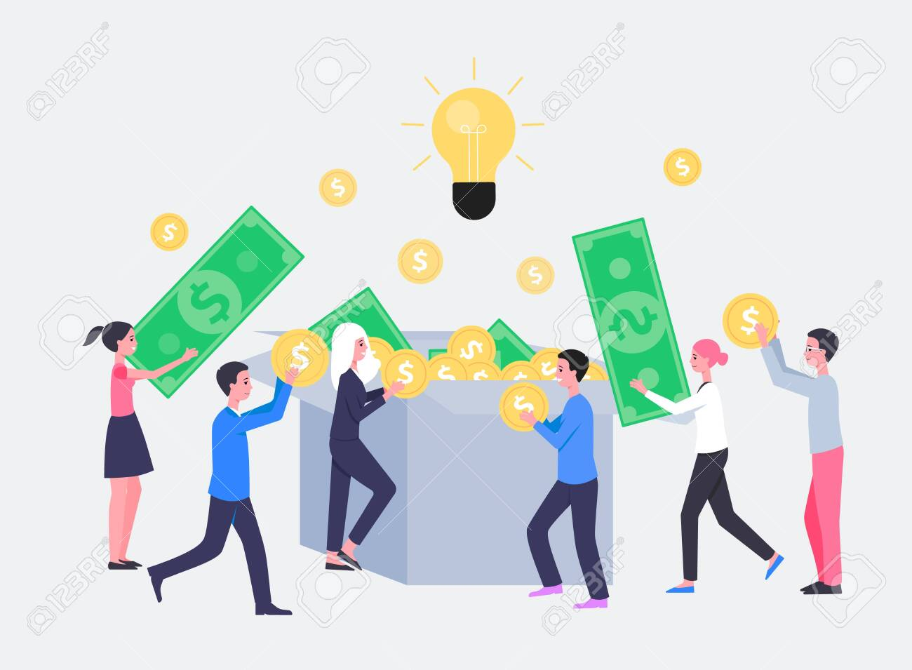 Crowdfunding or startup investment concept with cartoon people characters flat vector illustration isolated on white background. Project to donate money and support ideas. - 129267118