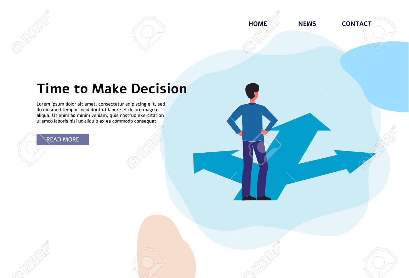 Time to make a decision - flat banner template with cartoon man standing on crossroad with three paths and making a road choice for business or career. Vector illustration. - 130029347