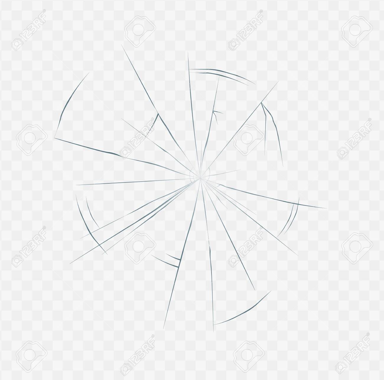 Realistic cracked glass texture isolated on white transparent background. Broken surface crack effect in spider web shape, daylight vector illustration. - 130223115