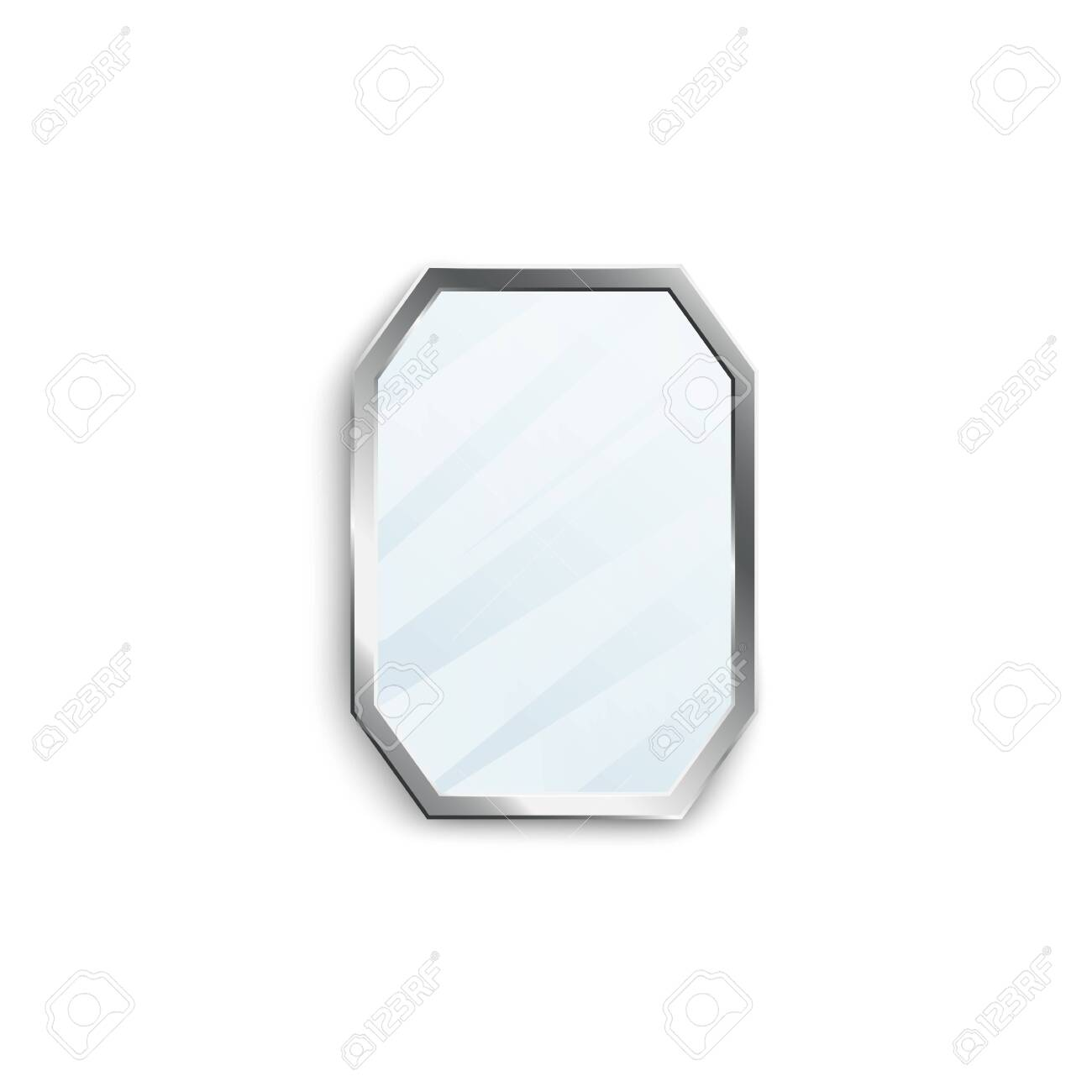 Realistic mirror with silver hexagon frame isolated on white background. Classic interior decoration object with reflective glossy glass texture - vector illustration. - 130223269