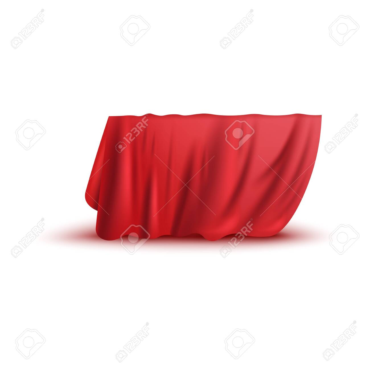 Covering drape, red curtain or cloth 3d photo realistic vector illustration isolated on white background. Fabric hiding some object, secret gift before presentation. - 130223460