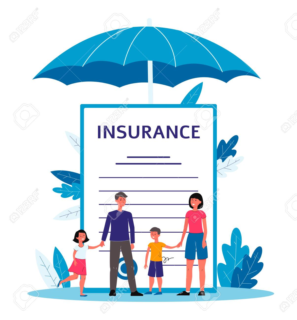 Family insurance - cartoon people standing near giant contract document with text under big umbrella. - 130798328