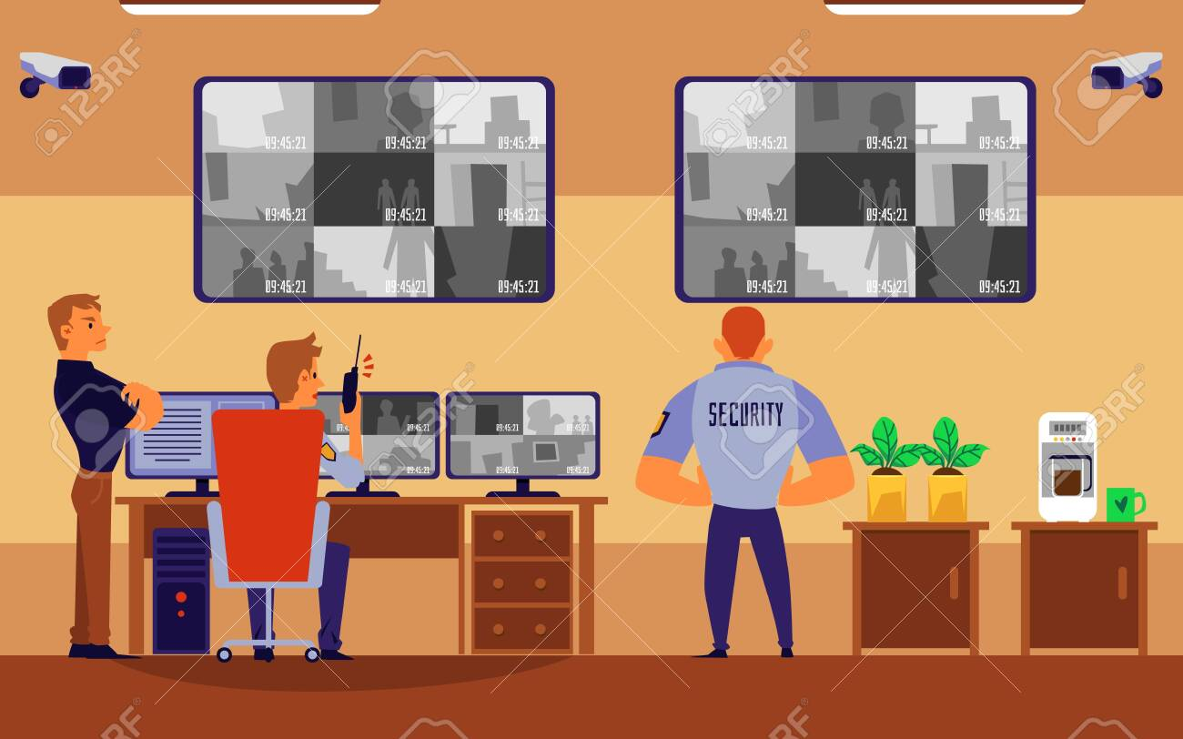 Guard people in uniform working in security room looking at computer monitor wall with surveillance footage. Cartoon personnel flat banner - vector illustration. - 133079212