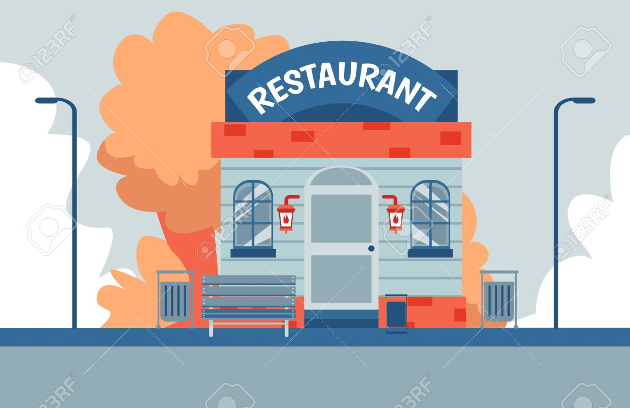 Modern Small Restaurant Building Front Facade Colorful Flat Royalty Free Cliparts Vectors And Stock Illustration Image 133079732