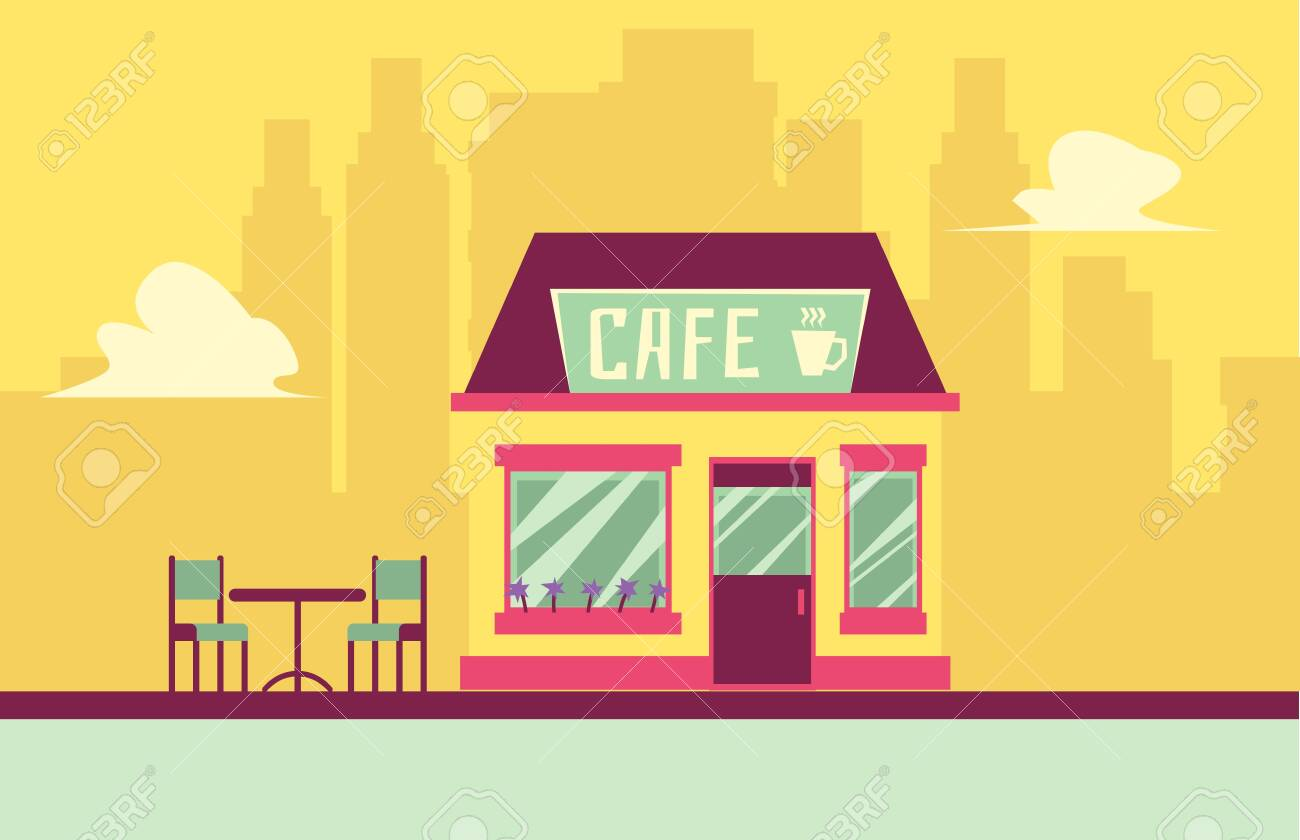 Small Cafe Building Facade With Outdoor Seating On Cityscape Royalty Free Cliparts Vectors And Stock Illustration Image 133287623