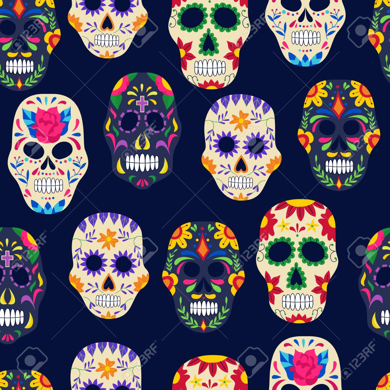 Dia de los muertos painted sugar skull seamless pattern on dark background - Day of the dead backdrop with Mexican holiday symbols. Flat vector illustration. - 133287893
