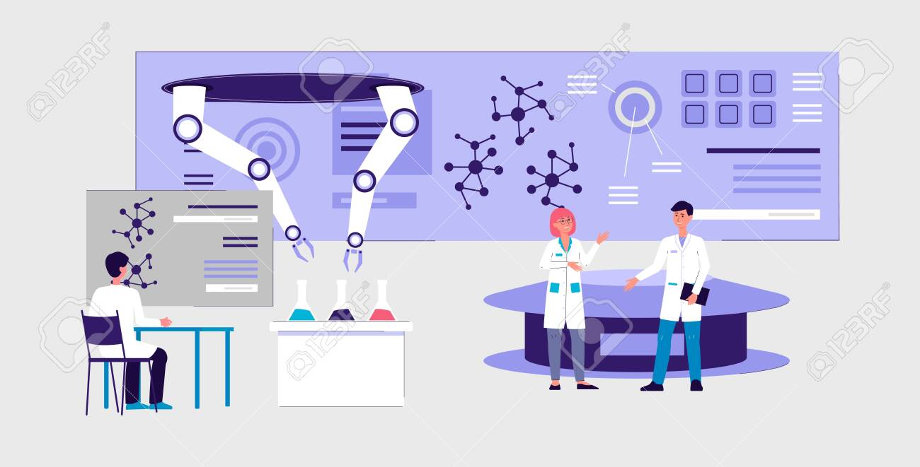 Futuristic laboratory interior banner - cartoon scientist people doing science experiment using robotic hand technology and modern equipment, vector illustration. - 133080546