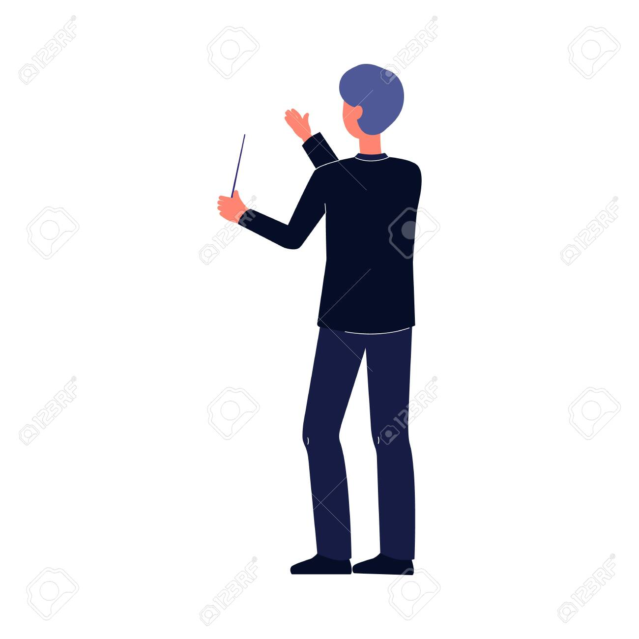 Orchestra conductor man holding baton stick and doing conducting hand gesture. Cartoon character performing in music event - isolated flat vector illustration. - 133494120