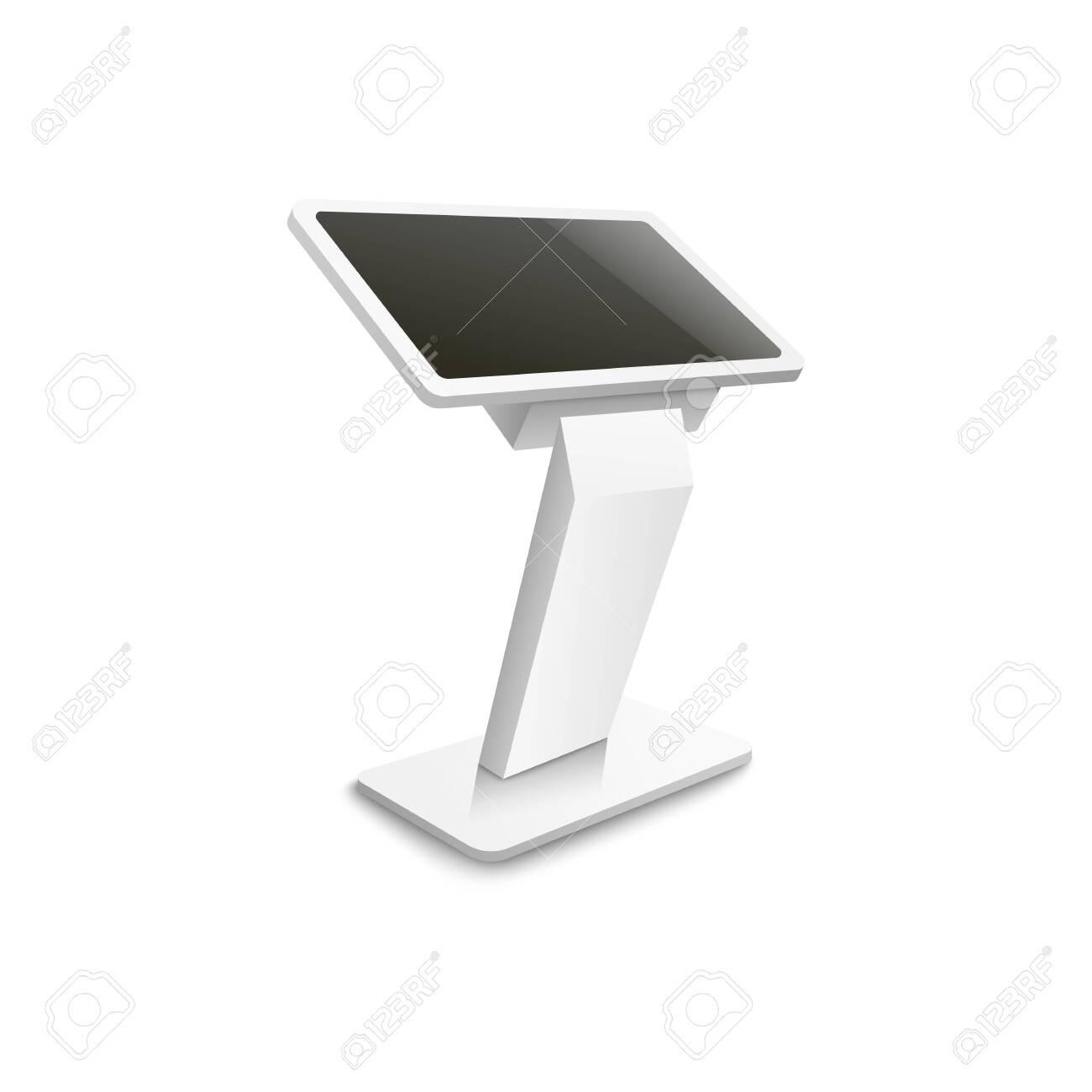 Advertising or information terminal stand with blank screen, 3d realistic vector mockup illustration isolated on white background. Side view of interactive panel template. - 135193765