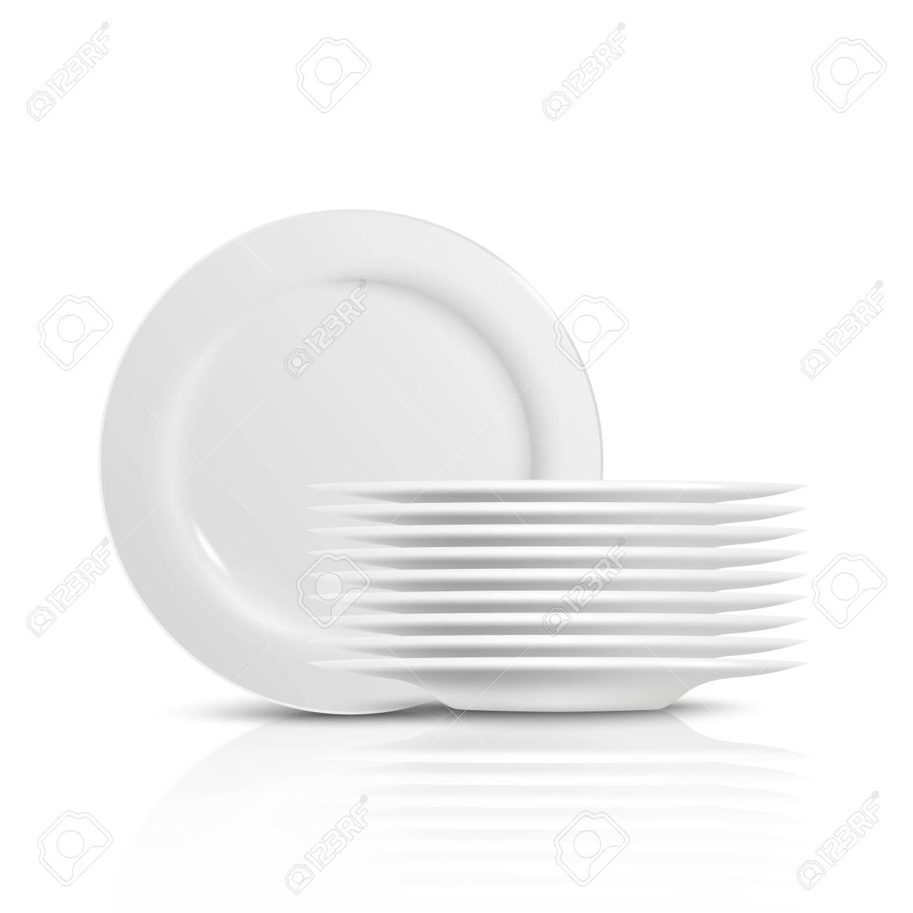 A pile and stack of clean white dishes and plates for serving..