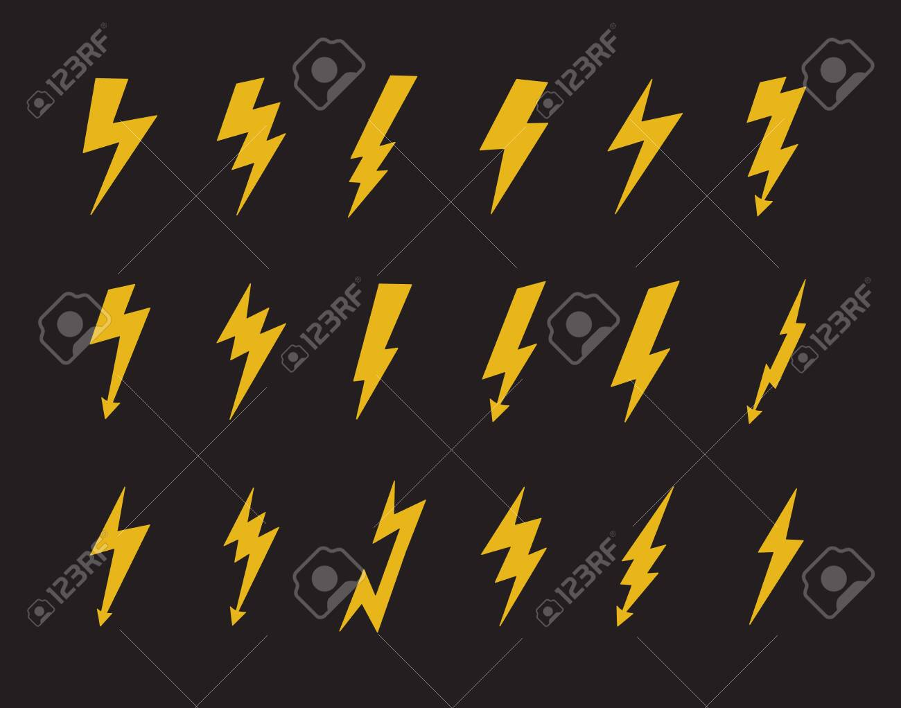 Yellow Electric Lightning Bolt Icon Set Isolated On Black Background Royalty Free Cliparts Vectors And Stock Illustration Image 138068474
