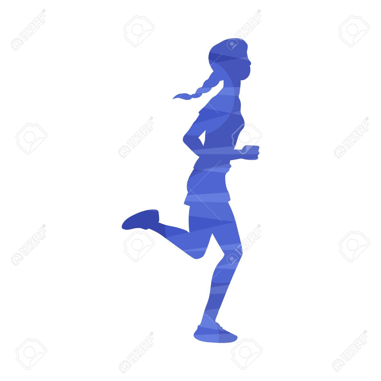 Young woman running marathon or jogging at morning, vector illustration in abstract effect isolated on white background. Sport and healthy active lifestyle colorful icon. - 139842972