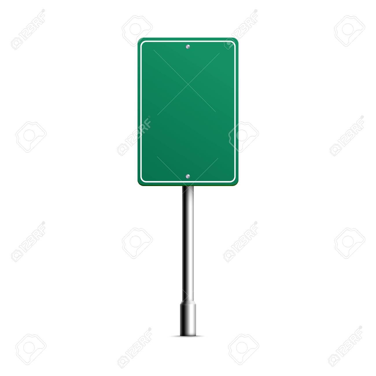 Empty green square shield of road sign mockup, realistic vector illustration isolated on white background. City traffic direction signpost or sign template. - 145341560