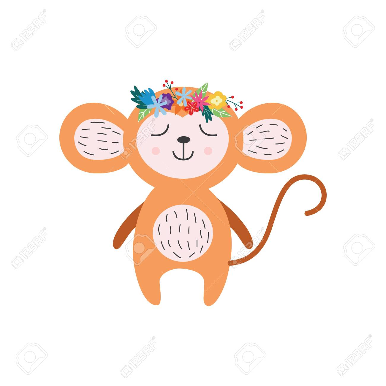 Cartoon Baby Monkey With Flower Crown And Closed Eyes Isolated Royalty Free Cliparts Vectors And Stock Illustration Image 145345022 Vector graphics install any size without loss of quality. 123rf com