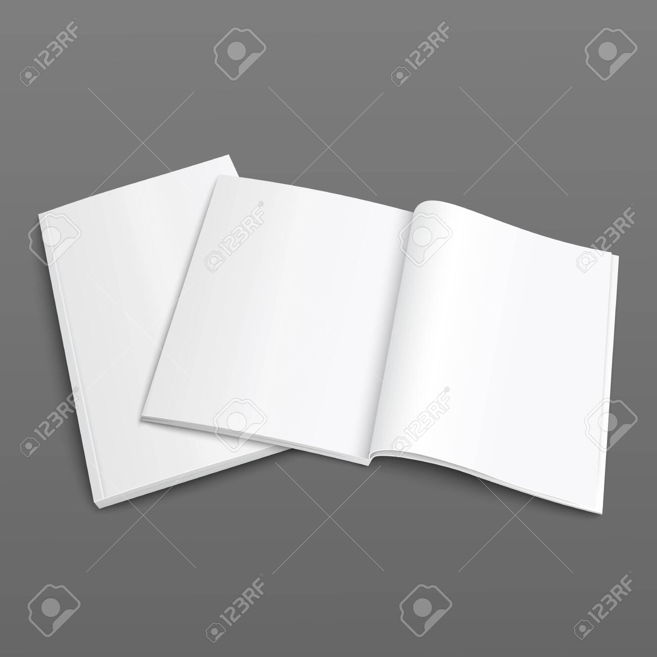 Realistic template and mock up paper magazine with empty and blank open pages. White realistic blank magazine template vector illustration. - 147990396