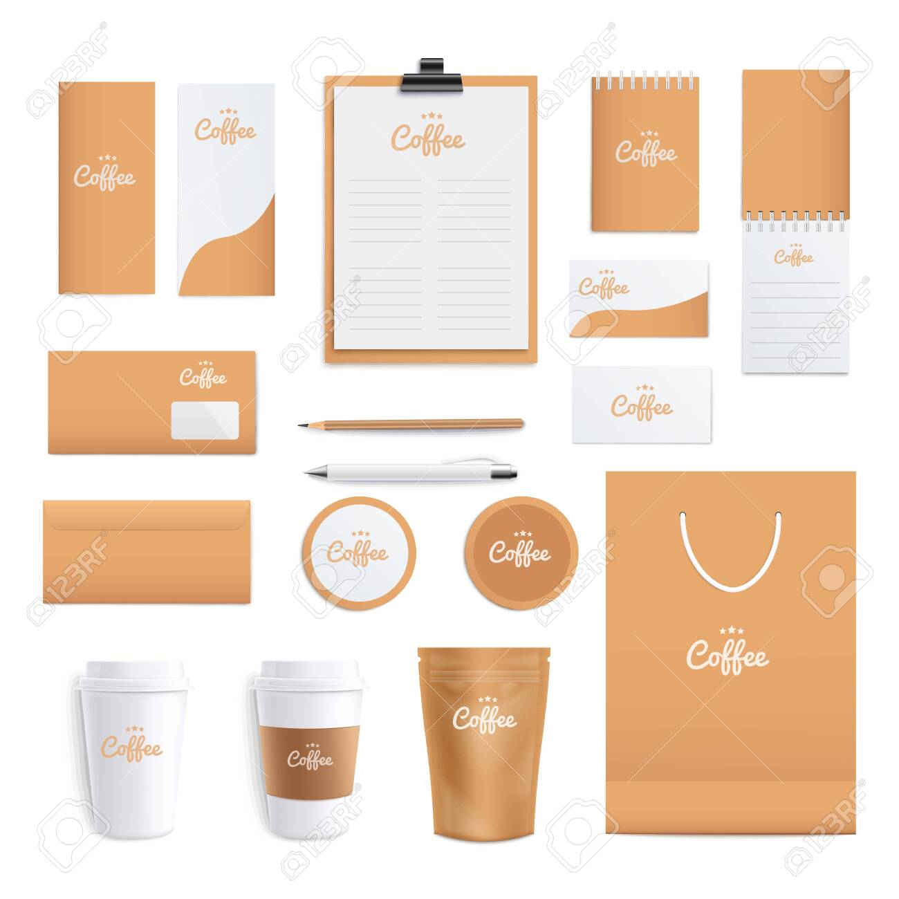 Coffee Themed Corporate Identity Stationery Layout Set Of Realistic Royalty Free Cliparts Vectors And Stock Illustration Image 152716876