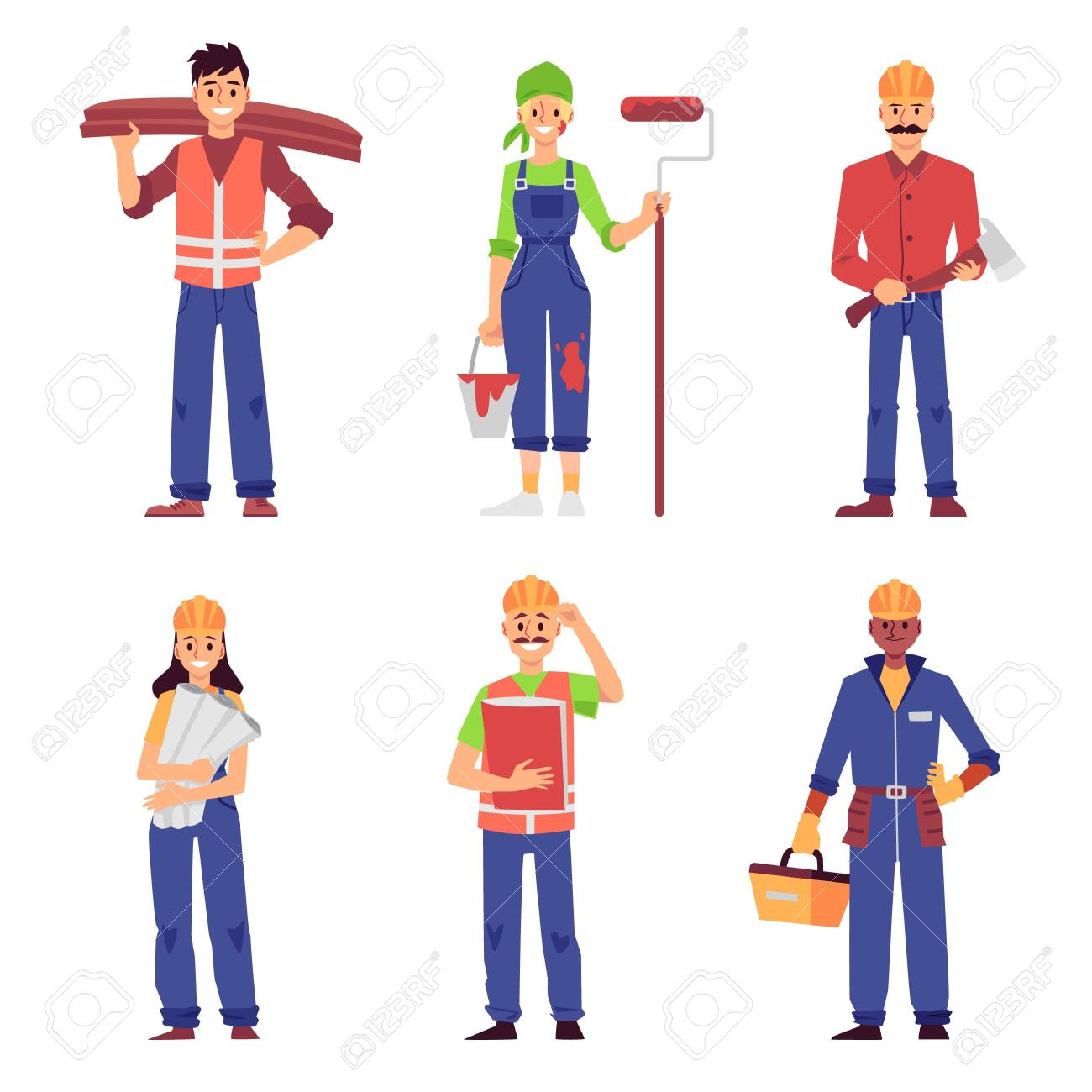 Cartoon set of builder and construction worker people isolated on white background - men and women in uniform standing and smiling - flat vector illustration. - 152838931