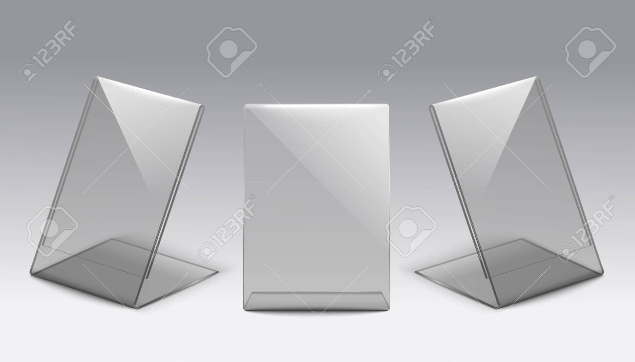 Plastic card size glass table stand set from front and side views - realistic blank mockup set of clear transparent rectangle displays or paper tag holders. Vector illustration. - 153097564