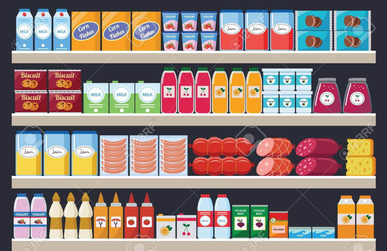 Supermarket shelves with assortment food products and drinks flat colorful cartoon vector illustration. Grocery market interior retail stands background. - 153261642