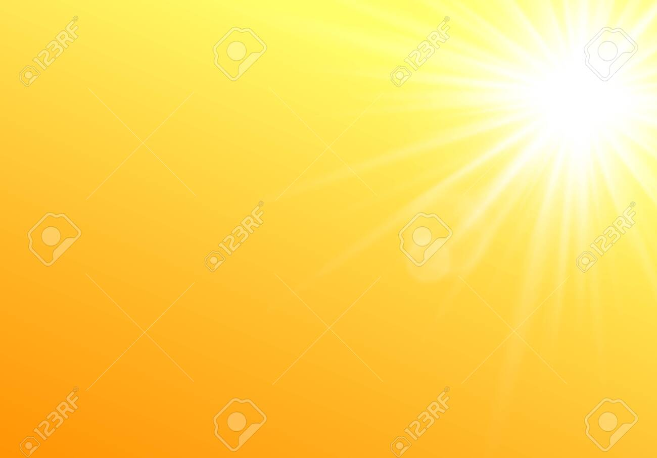 Summer sunshine glowing and bright abstract background template, realistic vector illustration. Sun rays and beams radiant effect on yellow backdrop layout. - 153422064