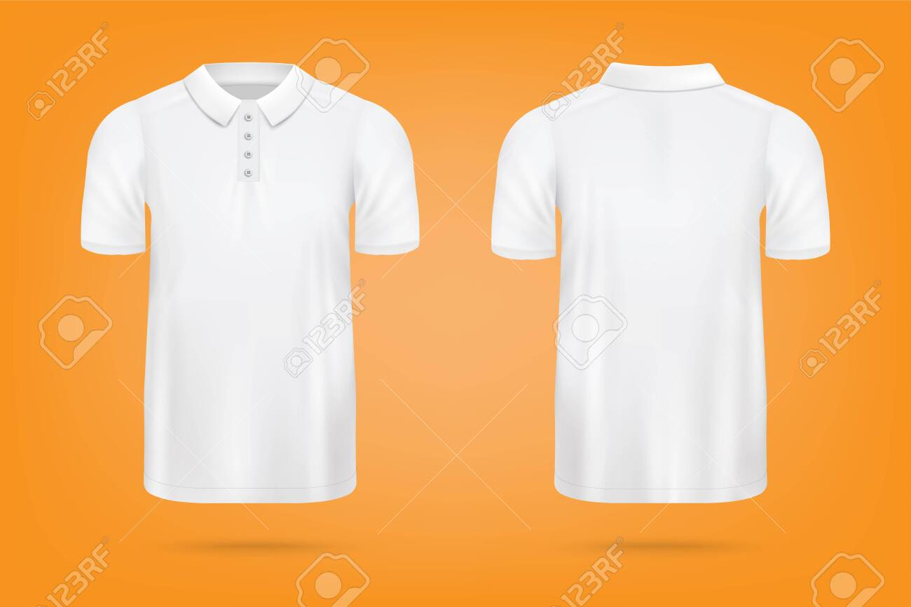 Download Realistic White Polo Shirt Mockup From Front And Back View On Royalty Free Cliparts Vectors And Stock Illustration Image 153416610 Yellowimages Mockups