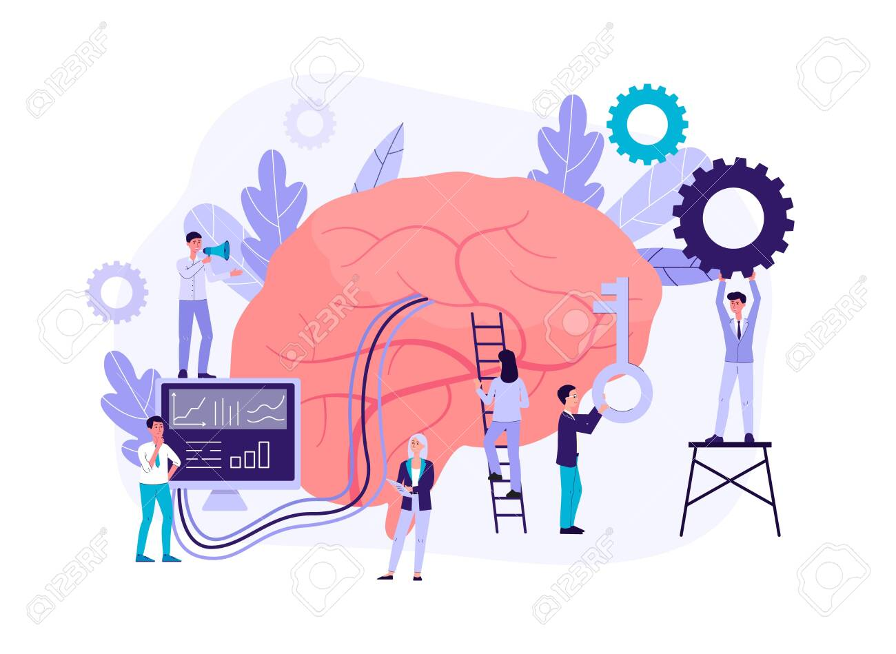 Neuromarketing technology concept with people cartoon characters analyzing customer behavior and developing marketing strategy, flat isolated vector illustration. - 154144314